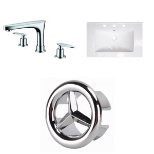 American Imaginations 24-in x 18-in White Ceramic Single Sink Chrome Faucet with Overflow Cap