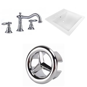 American Imaginations 21.5 x18.5-in White Ceramic Widespread Vanity Top Set Chrome Bathroom Faucet Overflow Cap