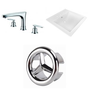American Imaginations 21.5 x18.5-in White Ceramic Widespread Vanity Top Set Chrome Bathroom Faucet Overflow Cap