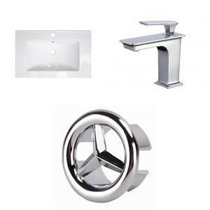 American Imaginations 24 x 18-in White Ceramic Single Hole Chrome Sink Drain