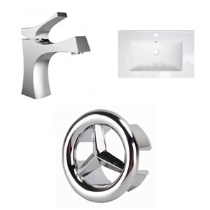 American Imaginations 24 x 18-in White Ceramic Single Hole With Chrome Bathroom Faucet and Overflow Cap