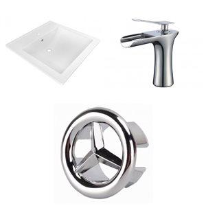 American Imaginations 21.5-in x 18.5-in White Ceramic Vanity Top Set Single Hole Chrome  Sink Bathroom Faucet Overflow Cap