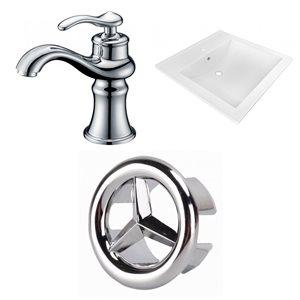 American Imaginations 21.5-in x 18.5-in White Ceramic Vanity Top Set Single Hole Chrome Bathroom Faucet Overflow Cap