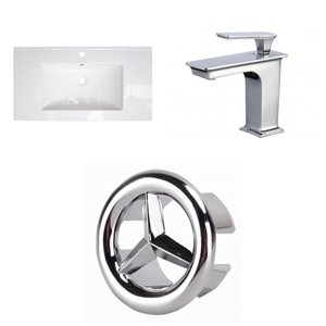 American Imaginations Flair 32-in x 18.25-in White Singlehole Ceramic Top Set With Chrome Faucet And Overflow Cap