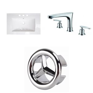 American Imaginations Flair 25 x 22-in White Ceramic Widespread Vanity Top Set Chrome Bathroom Faucet and Overflow Cap
