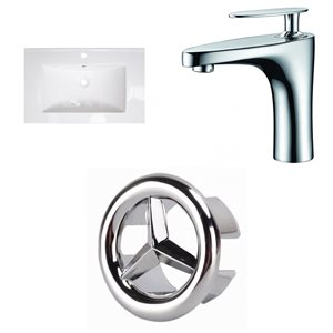 American Imaginations Flair 25-in x 22-in White Ceramic Vanity Top Set Single Hole Chrome Bathroom Faucet Overflow Cap