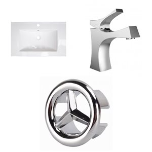 American Imaginations Omni 21- in x 18.5- in Single Hole White Ceramic Top Set With Chrome Overflow Cap and Faucet