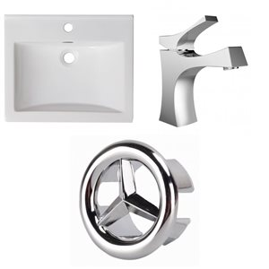 American Imaginations Omni 21-in x 18.5-in Single Hole White Ceramic Top Set With Chrome Overflow Cap and Faucet