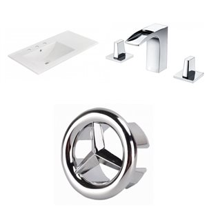American Imaginations 35.5-in x 18.25-in White Ceramic Vanity Top Set Widespread Chrome Bathroom Faucet Overflow Cap
