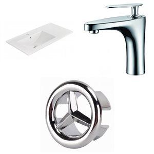 American Imaginations 35.5-in x 18.25-in White Ceramic Vanity Top Set Single Hole Chrome Bathroom Faucet Overflow Cap