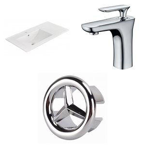 American Imaginations 35.5-in x 18.25-in White Ceramic Vanity Top Set Single Hole Chrome Bathroom Faucet Overflow Cap