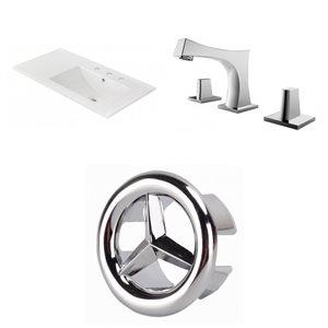 American Imaginations 35.5-in x 18.25-in White Ceramic Vanity Top Set Widespread Chrome Bathroom Faucet Overflow Cap