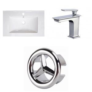 American Imaginations Vee 30-in x 18.5-in White Singlehole Ceramic Top Set With Chrome Faucet And Overflow Cap