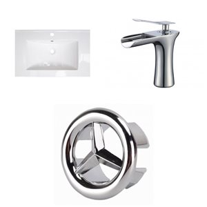 American Imaginations Vee 21-in x 18.5-in White Singlehole Ceramic Top Set With Chrome Faucet And Overflow Cap