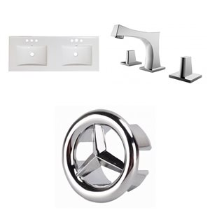American Imaginations Xena 59-in x 18-in White Ceramic Widespread Vanity Top Set with Chrome Faucets and Overflow Caps