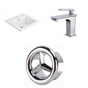 American Imaginations 21-in x 18-in Single Hole White Ceramic Vanity Top Set With Chrome Faucet And Overflow Cap
