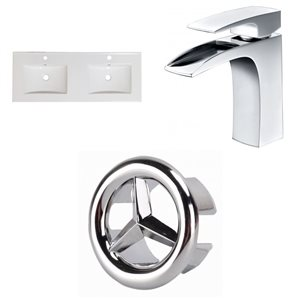 American Imaginations Xena Single Hole 48- in x 18.25- in White Ceramic Top Set With Chrome Overflow Caps and Faucets