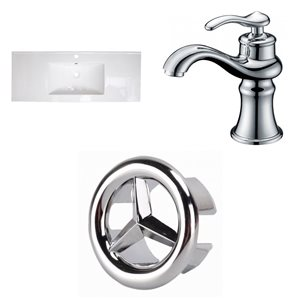 American Imaginations Roxy 48 x 18.5-in White Ceramic Single Hole Vanity Top Set Chrome Bathroom Faucet and Overflow Cap