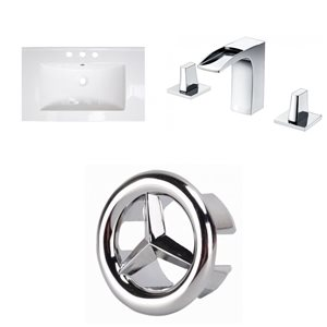 American Imaginations Roxy 32 x 18.25-in White Ceramic Widespread Vanity Top Set Chrome Bathroom Faucet and Overflow Cap