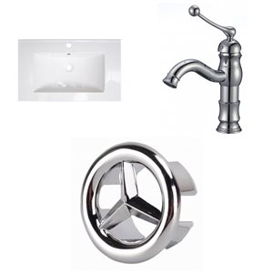 American Imaginations Roxy 32 x 18.25-in White Ceramic Single Hole Vanity Top Set Chrome Bathroom Faucet and Overflow Drain