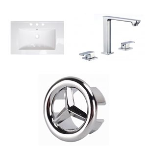 American Imaginations Flair 23.75-in x 18.25-in White Ceramic Vanity Top Set Widespread Chrome Bathroom Faucet Overflow Cap