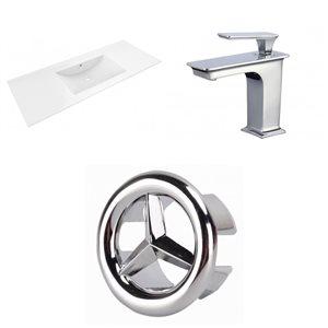 American Imaginations Alum 48 x 18.5-in White Ceramic Single Hole  Vanity Top Set Chrome Bathrooom Faucet Overflow Cap