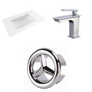 American Imaginations Drake 35.5 x 19.75-in White Ceramic Vanity Top Set with Chrome Faucet and Overflow Cap Single Hole