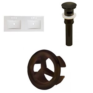 """American Imaginations Xena 48 x 18.25 2 Sinks White Ceramic 4"""" Center Vanity Top Oil Rubbed Bronze Drain and Overflow Cap"""