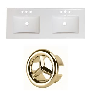 American Imaginations 59-in x 18-in White Ceramic Xena 4-in Centreset Vanity Top Set with Gold Overflow Caps