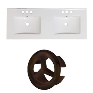 American Imaginations 59-in x 18-in White Ceramic Xena 4-in Centreset Vanity Top Set with Oil Rubbed Bronze Overflow Caps