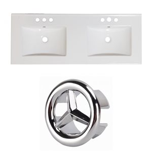 American Imaginations 59-in x 18-in White Ceramic Xena 4-in Centreset Vanity Top Set with Chrome Overflow Caps