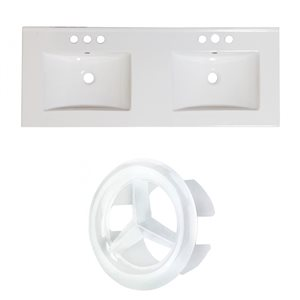 American Imaginations Xena Single Hole 48- in x 18.25- in White Ceramic Top Set With White Overflow Caps