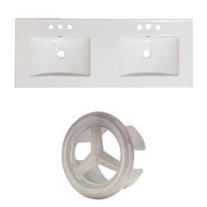 American Imaginations Xena 48 x 18.25-in  2 Sinks White Ceramic 4-in Centerset Vanity Top Set Brushed NIckel Overflow Cap