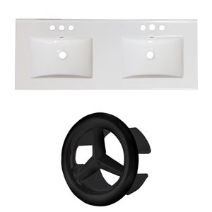 American Imaginations Xena 48 x 18.25-in  2 Sinks White Ceramic 4-in Centerset Vanity Top Set Black Overflow Cap