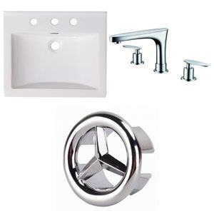 American Imaginations Omni 21- in x 18.5- in White Ceramic Top Set With Chrome Overflow Cap and Faucet