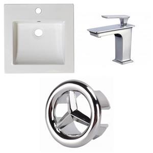 American Imaginations Nikki 21.5-in x 17.75-in White Ceramic Vanity Top Set Single Hole Bathroom Faucet Overflow Cap