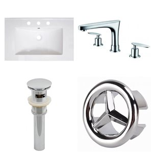 American Imaginations Roxy 30-in x 18.25-in White Ceramic Top Set with Chrome Faucet, Sink Drain and Overflow Cap