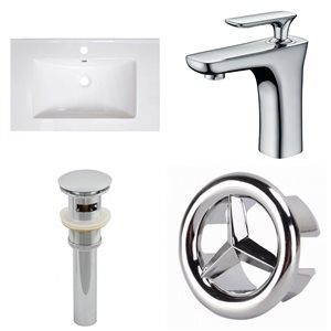 American Imaginations Roxy 30-in x 18.25-in White Ceramic Top Set with Chrome Faucet, Overflow Cap and Sink Drain Single Hole