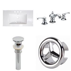 American Imaginations Flair 32-in x 18.25-in White Widespread Ceramic Top Set With Chrome Faucet Sink Drain And Overflow Cap