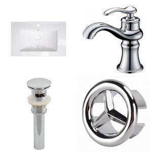 American Imaginations Flair 23.75 x 18.25 White Ceramic Vanity Top Single Hole Chrome Bathroom Faucet Sink Drain Overflow Cap