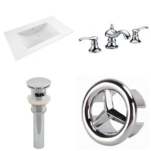 American Imaginations Drake 35.5 x 19.75-in White Ceramic Vanity Top Set with Chrome Faucet, Sink Drain and Overflow Cap
