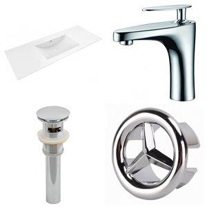 American Imaginations Alum 48 x 18.5-in White Ceramic Single Hole  Vanity Top  Chrome Sink Drain Bathrooom Faucet Overflow Cap