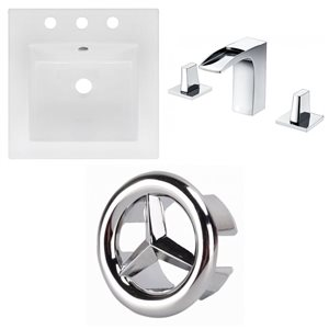American Imaginations 16.5 x 16.5-in White Ceramic Widespread Vanity Top Set Chrome Bathroom Faucet and Overflow Cap