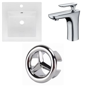 American Imaginations 16.5 x 16.5-in White Ceramic Single Hole Vanity Top Set Chrome Bathroom Faucet and Overflow Cap