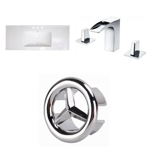 American Imaginations 39.75 x 18.25-in White Ceramic Widespread Vanity Top Set Chrome Bathroom Faucet and Overflow Cap