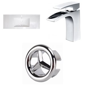 American Imaginations 39.75 x 18.25-in White Ceramic Single Hole Vanity Top Set Chrome Bathroom Faucet and Overflow Cap