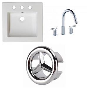 American Imaginations Nikki 21.5-in x 17.75-in White Ceramic Vanity Top Set Widespread Chrome Bathroom Faucet Overflow Cap