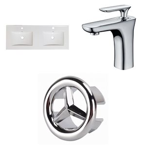 American Imaginations Xena 59-in x 18-in White Ceramic Single Hole Vanity Top Set with Chrome Faucet and Overflow Cap
