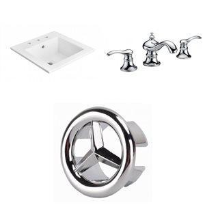 American Imaginations 21-in x 18-in Widespread White Ceramic Vanity Top Set With Chrome Faucet And Overflow Cap