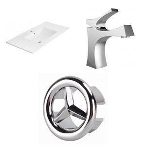 American Imaginations Xena 35 x 18.25-in White Ceramic Single Hole Vanity Top Set Chrome Bathroom Faucet and Overflow Cap